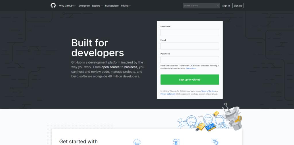 GitHubのウェブサイト