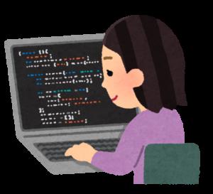 プログラミングをする女性の画像