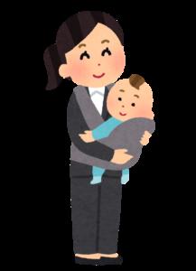 赤ちゃんを抱っこしたビジネスウーマンの画像